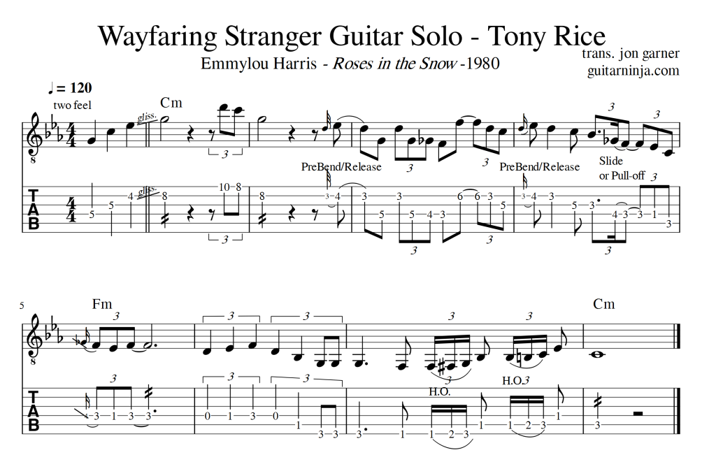 Wayfaring Stranger – Tony Rice Solos – Standard and TAB | Guitar Ninja